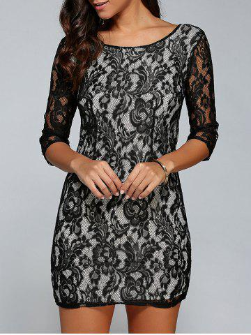 Discount Short Lace Bodycon Cocktail Dress with Sleeves - M BLACK Mobile