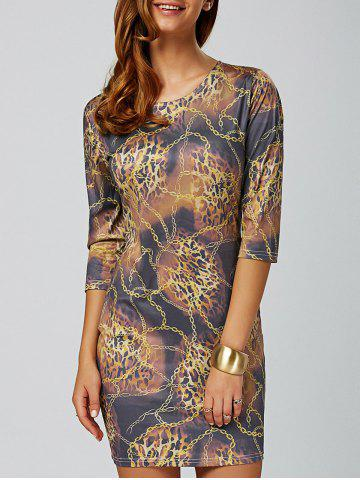 Buy Chain Leopard Print Bodycon Mini Dress COLORMIX 2XL