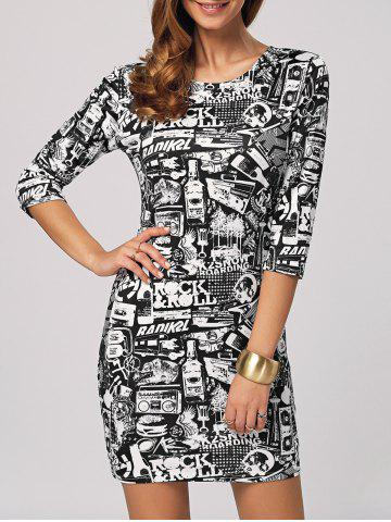 Fancy Rock Roll Graphic Bodycon Mini Dress COLORMIX 2XL