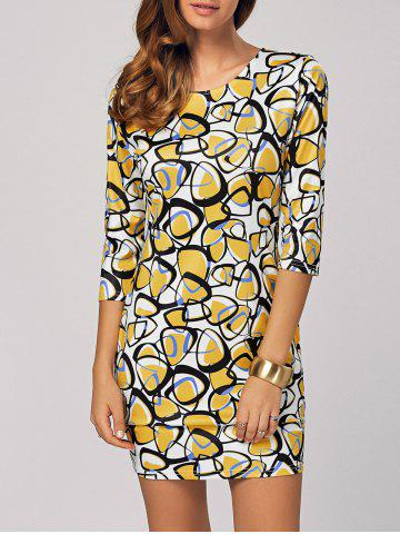 Online Abstract Printed Bodycon Mini Dress