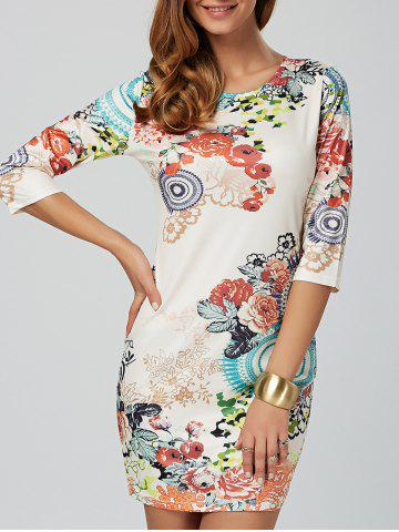 Cheap Flower Print Mini Bodycon Dress
