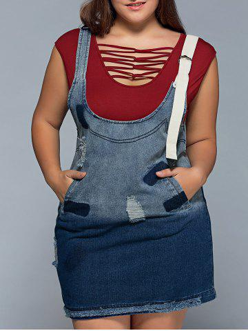 Suspender Ripped Denim Plus Size Dress