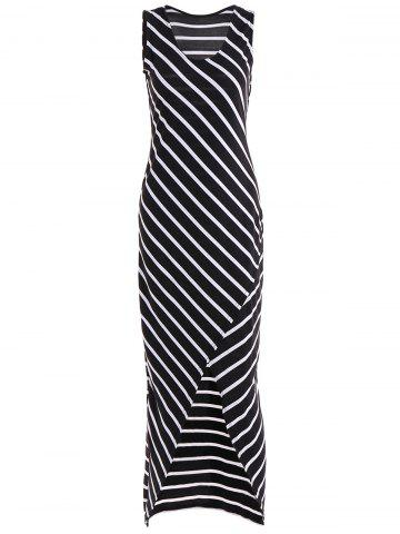 Latest Striped Maxi High Low Dress