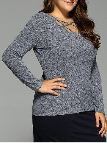 Cheap Long Sleeve Strappy Top GRAY XL