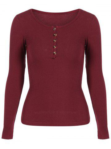 Cheap Buttoned Long Sleeve Knitwear WINE RED S