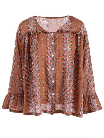 Trendy Buttoned Flare Sleeve Print Blouse