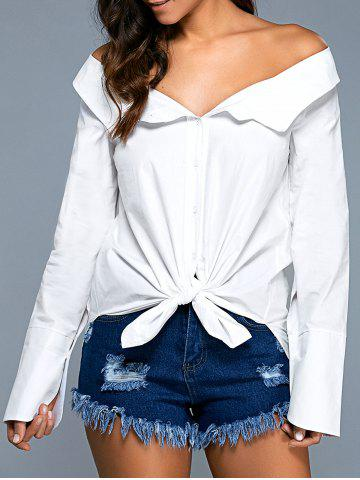 Outfit Knotted Off The Shoulder Shirt
