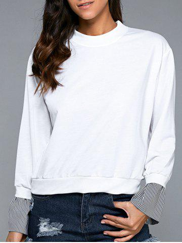 Shops Splicing Long Sleeve Sweatshirt WHITE L