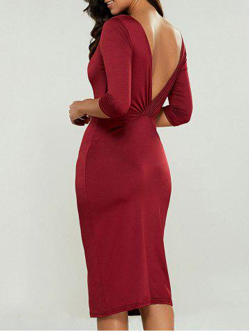 Outfits Knee Length Bodycon Dress WINE RED XL