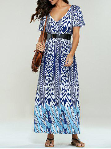 Online Bohemian Print Belted Maxi Dress