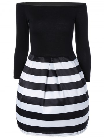 Outfits Stripe Splicing Off The Shoulder Dress