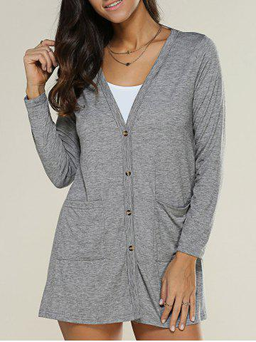 Store Pocket Design Buttoned Thin Coat DEEP GRAY XL