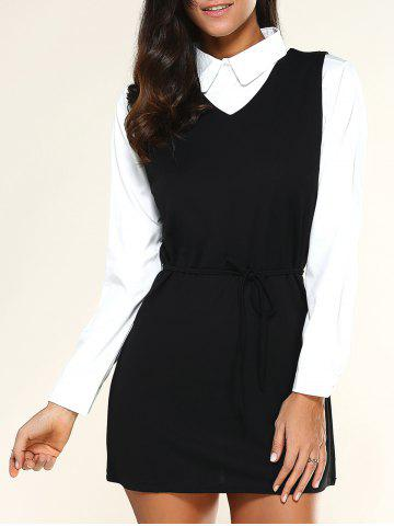Trendy V Neck Drawstring Dress + Long Sleeve Shirt BLACK XL