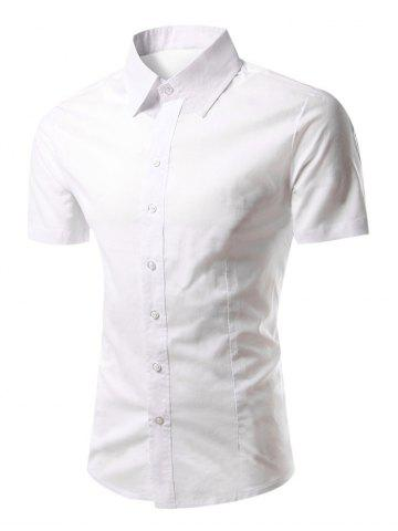 Slimming Turn-Down Collar Short Sleeve Shirt - WHITE 2XL