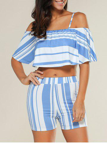 Online Stripe Overlay Off Shoulder Cropped Top with Blue and White Shorts