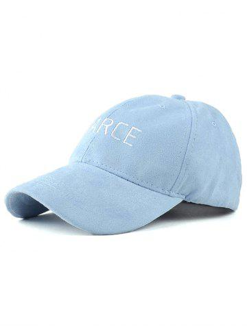 Adjustable Faux Suede Letters Embroidery Curved Brim Baseball Hat - BLUE