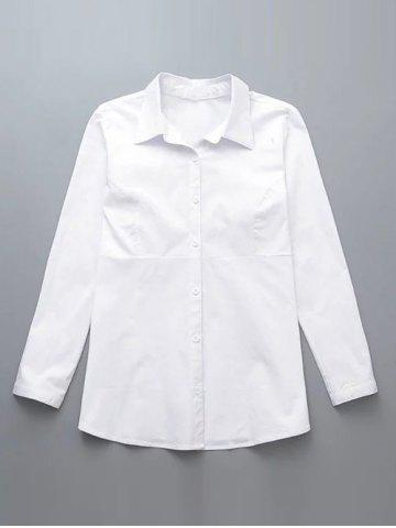 Trendy Plus Size Back Ruched Buttoned Shirt