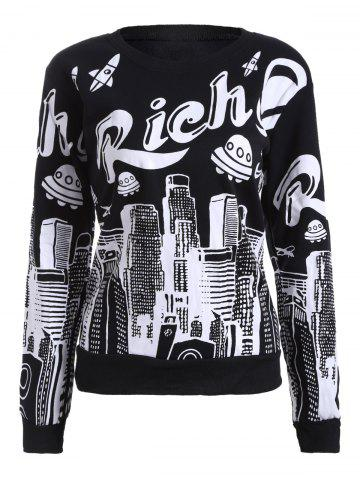 New Letter and Building Print Fleece Sweatshirt BLACK ONE SIZE