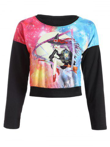 Trendy Galaxy Witch Print Cropped Sweatshirt