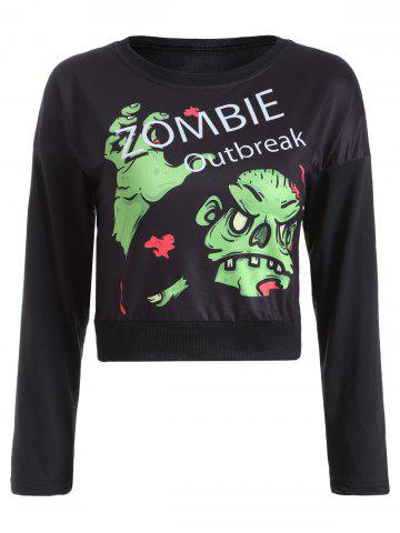 Unique Letter and Monster Print Cropped Sweatshirt