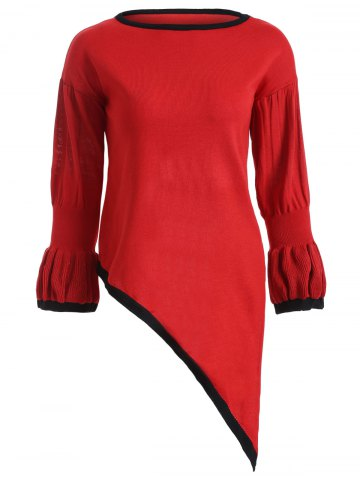 Shop Trumpet Sleeves Asymmetrical Knitted Pullover