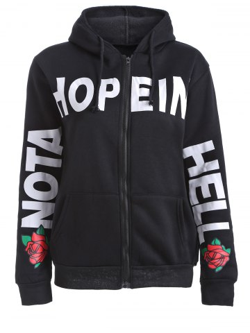 Affordable Letter and Floral Print Hooded Jacket