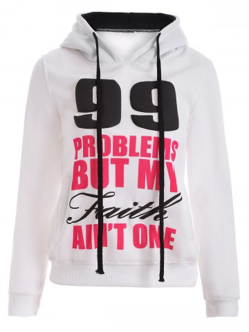 Outfits Letters Print Double-Pocket Design String Hoodie WHITE XL