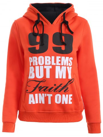 Latest Letters Print Double-Pocket Design String Hoodie