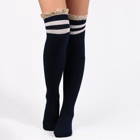Fancy Casual Lace Edge Double Stripe Pattern Autumn Stockings