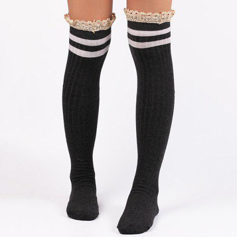 Store Casual Lace Edge Double Stripe Pattern Autumn Stockings DEEP GRAY