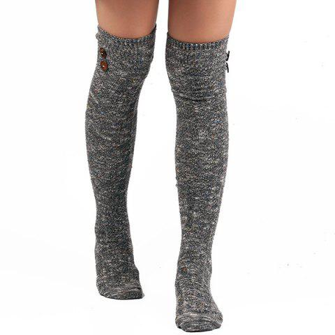 Casual Buttons Snowflake Point Knit Stockings - GRAY