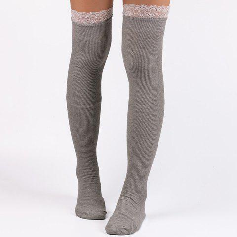 Casual Lace Edge Knit Stockings - Light Gray - 2xl