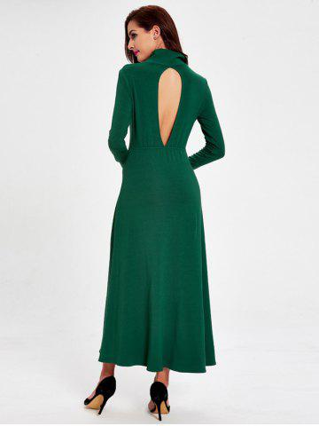 Online Casual Turtleneck Hollow out Swing Dress GREEN L