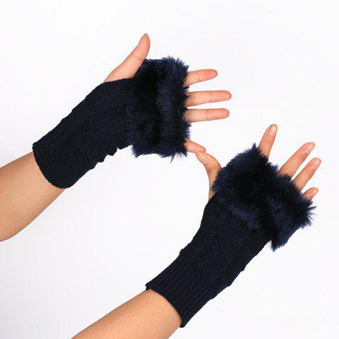 Shop Casual Faux Fur Edge Plaid Knit Fingerless Gloves PURPLISH BLUE