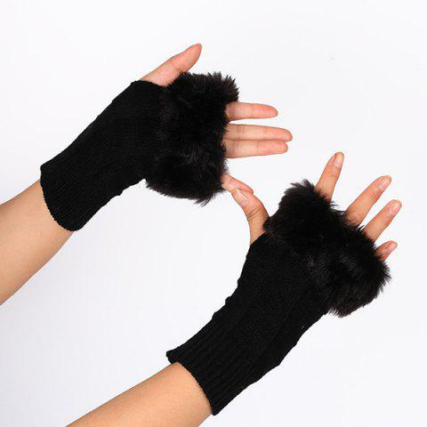 Unique Casual Faux Fur Edge Plaid Knit Fingerless Gloves BLACK