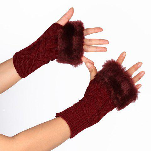 Fashion Casual Faux Fur Edge Plaid Knit Fingerless Gloves - WINE RED  Mobile