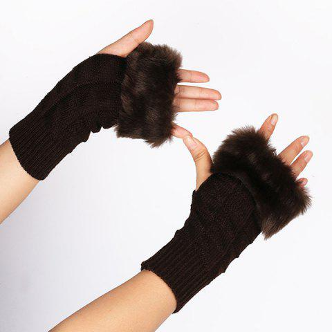 Casual Faux Fur Edge Plaid Knit Fingerless Gloves - Dark Coffee