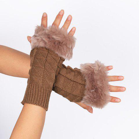Sale Casual Faux Fur Edge Plaid Knit Fingerless Gloves - KHAKI  Mobile