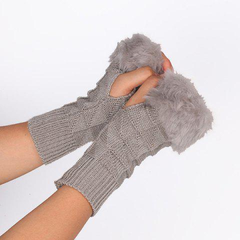 Online Casual Faux Fur Edge Plaid Knit Fingerless Gloves LIGHT GRAY