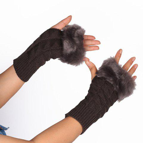 Trendy Casual Faux Fur Edge Plaid Knit Fingerless Gloves - DEEP GRAY  Mobile