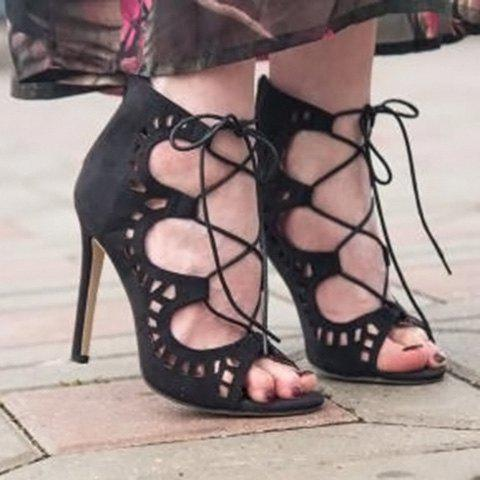 Shops High Stiletto Heel Lace Up Cut Out Sandals