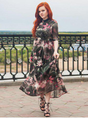 Discount Stand Collar 1/2 Sleeve Floral Printed Maxi Dress