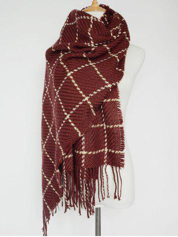 Outfits Tasseled Plaid Knitted Scarf