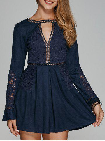 Best Long Sleeve Lace Cut Out Flare Dress