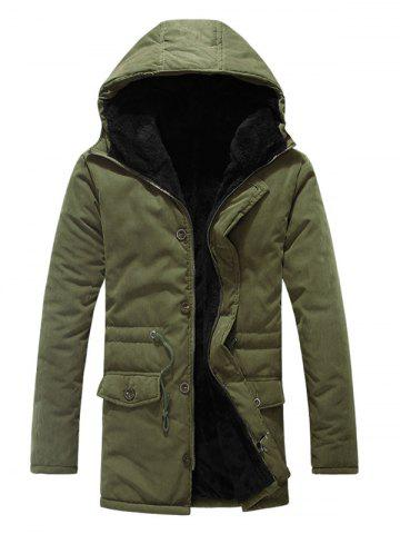 Best Drawstring Zipper Button Hooded Padded Coat