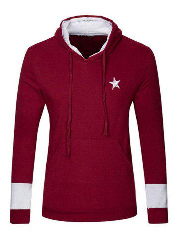 Hot Kangaroo Pocket Star Embroidered Drawstring Pullover Hoodie WINE RED 2XL