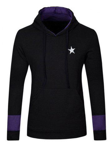 Kangaroo Pocket Star Embroidered Drawstring Pullover Hoodie - Black - M
