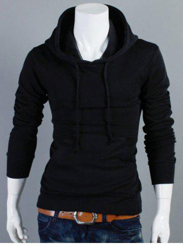 Plain Kangaroo Pocket Drawstring Pullover Hoodie - Black - M