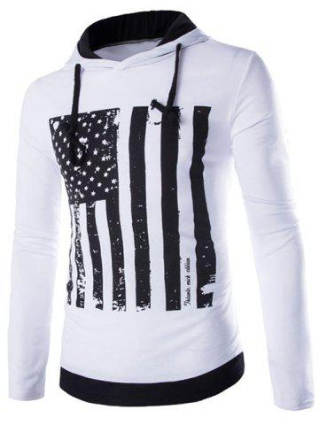 Shops Flag Pattern Contrast Trim Drawstring Pullover Hoodie WHITE XL