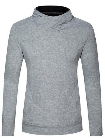 Hot Long Sleeve Plain Pullover Hoodie LIGHT GRAY XL